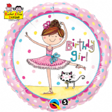 Birthday Girl Ballerina Foil Helium Balloon By Rachel Ellen